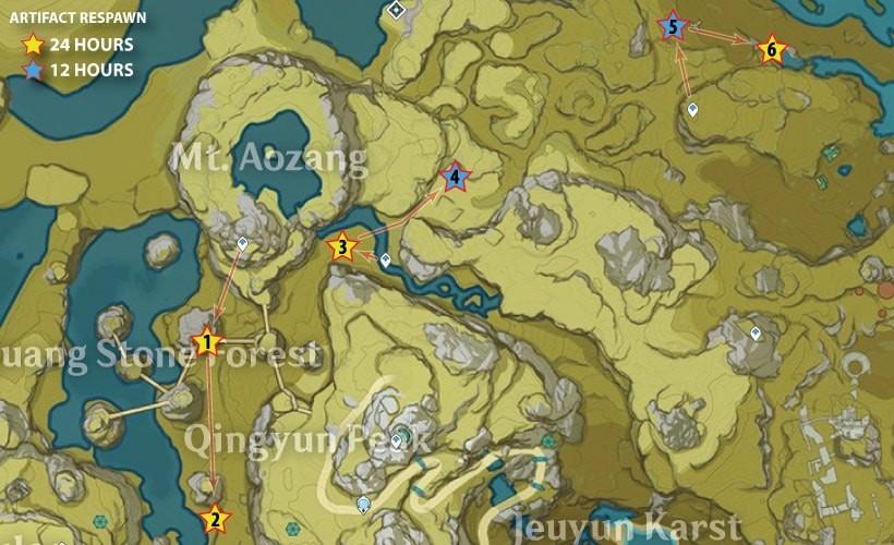 Гора Аоцзан - Маршруты фарма артефактов в Genshin Impact