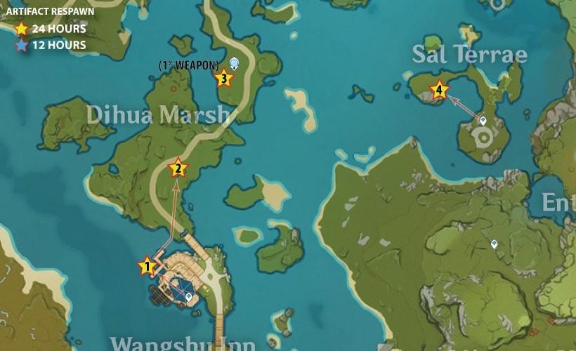 Тростниковые острова - Маршруты фарма артефактов в Genshin Impact